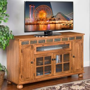 Rustic Oak Counter Height TV Console